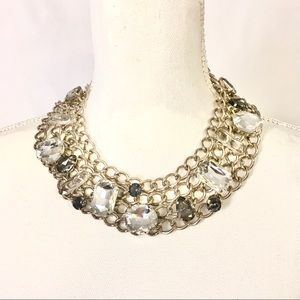 CHICOS NWT Crystal Chain Bib Fashion Necklace